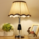 1 Head Living Room Table Light Modern Beige Small Desk Lamp with Cone Fabric Shade