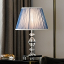 Modernism 1 Bulb Task Lighting Blue Tapered Drum Small Desk Lamp with Fabric Shade