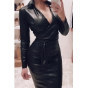 Cool Fashion Girls Long Sleeve Lapel Neck Tied Waist Long Plain Leather Bodycon Dress