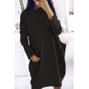 Leisure Popular Women's Long Sleeve Round Neck Pockets Side Short Oversize Solid Color Dress