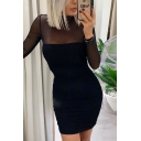 Chic Sexy Black Long Sleeve Mock Neck Sheer Mesh Patched Mini Bodycon Dinner Dress for Ladies