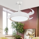4 Blades Acrylic Drum Ceiling Fan Lighting Modern Style Bedroom LED Semi Flush Mounted Lamp in White, 48
