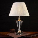 Modernism Urn-Shaped Task Lighting Clear Crystal 1 Head Small Desk Lamp in Grey