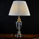 1 Bulb Bedroom Desk Lamp Contemporary Grey Table Light with Tapered Fabric Shade