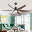 6-Blade Metallic Cylindrical Ceiling Fan Lamp Antiqued Living Room LED Semi Flush Mounted Light in Black, 55.5