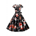 Amazing Ladies' Black Short Sleeve Round Neck Bow Tie Waist Santa Claus Bear Printed Maxi Pleated Swing Dress