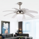 Opal Glass Silver Semi Flush Light Fixture Cone Modernist LED Ceiling Fan Lamp with 8 Adjustable Blades for Living Room, 48