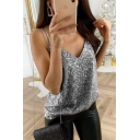 Party Girls' Plain Sleeveless V-Neck Sequined Relaxed Fit Glitter Cami Top