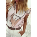 Trendy Ladies' Short Sleeve V-Neck Button Down Geo Print Ruffled Trim Relaxed Fit Shirt in Pink