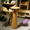 LED Mushroom Task Light Contemporary Wood Nightstand Lamp in Beige for Living Room