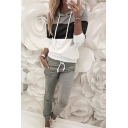 Leisure Fashion Women's Long Sleeve Drawstring Colorblocked Relaxed Hoodie with Sweatpants