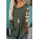 Trendy Women's Long Sleeve Round Neck Camo Printed Waffle Knit Panel Relaxed T-Shirt
