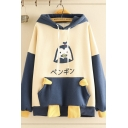 Preppy Girls' Long Sleeve Drawstring Chicken Print Japanese Letter Pouch Pocket Colorblocked Oversize Hoodie