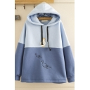 Womens Fashion Chic Long Sleeve Drawstring Duck Embroidered Colorblock Loose Fit Hoodie in Blue