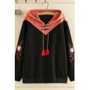 Vintage Women's Long Sleeve Fringe Drawstring Cat Pattern Frog Button Detail Colorblock Relaxed Hoodie in Black