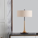 Contemporary 1 Bulb Desk Light Flaxen Cylinder Night Table Lamp with Fabric Shade