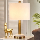 Shaded Reading Light Modern Fabric 1 Bulb Nightstand Lamp in White for Living Room