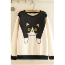 Korean Girls' Long Sleeve Round Neck Cat Colorblocked Sherpa Lined Loose Pullover Sweatshirt in Khaki