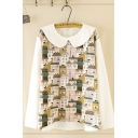 Chic Leisure Women's Long Sleeve Peter Pan Collar House Pattern Colorblock Relaxed Fit Sweatshirt