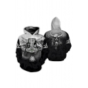 Black Cartoon Character Bull Demon King 3D Print Long Sleeve Drawstring Loose Fit Hoodie with Pocket