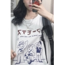 Cool Street Girls Short Sleeve Round Neck Japanese Letter Cartoon Graphic Loose Fit T Shirt