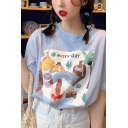 Fancy Pretty Girls Short Sleeve Crew Neck Letter EVERYDAY Cartoon Graphic Relaxed T Shirt