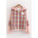 Lovely Girls Long Sleeve Zipper Front Drawstring Bear Embroidery Plaid Printed Colorblocked Oversize Jacket