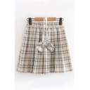Preppy Girls Elastic Waist Bow Tie Checkered Patterned Mini Pleated A-Line Skirt