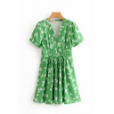 Nice Green Short Sleeve V-Neck Button Front All-Over Floral Printed Lace Up Mini Pleated A-Line Dress