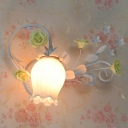 Metal Flower Wall Mounted Lamp Countryside 1 Head Living Room Sconce Light Fixture in Yellow/Pink/Blue