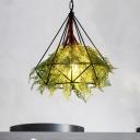 Diamond Metal Plant Suspension Pendant Antique 1 Head Restaurant LED Ceiling Light in Black, 15