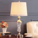Contemporary Flare Reading Light Hand-Cut Crystal 1 Bulb Small Desk Lamp in White