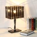 Rectangular Nightstand Lamp Modern Smoke Grey Crystal 1 Bulb Bedside Reading Light
