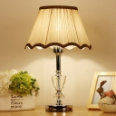 Fabric Cone Task Light Nordic 1 Head Desk Lamp in Beige with Faux-Braided Detailing