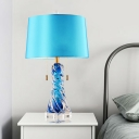 Blue Flared Desk Light Modernism 2 Bulbs Fabric Night Table Lamp with Pull Chain