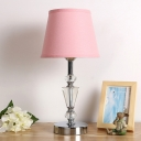 Cone Shade Fabric Task Light Modernist 1 Head Pink/Beige Reading Lamp with Metal Base