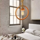 Beige 1 Head Pendant Light Vintage Rope Ring Shape Hanging Ceiling Lamp with Knots Cord