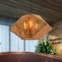 Beige Stereoscopic Star Hanging Lamp Vintage Rope 1-Light Restaurant Ceiling Pendant Light
