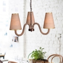 Fabric Cone Hanging Lighting Industrial 3/5/8 Heads Restaurant Pendant Chandelier in Beige with Curved Rope Arm