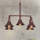 Metal Cone Pendant Chandelier Farmhouse 5-Bulb Living Room Ceiling Hang Fixture in Black/Bronze