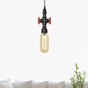 1 Bulb Amber Glass Pendant Vintage Black Capsule Coffee Shop LED Suspension Light with Pipe Design, 3
