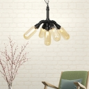 2/4/5 Lights Amber Glass Pendant Chandelier Industrial Black Capsule Bar LED Hanging Ceiling Lamp, 14.5