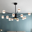 Black 2-Layer Radial Hanging Lighting Modernist 12 Bulbs Iron Chandelier Lamp with Drum Acrylic Shade