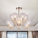 Clear Glass Pendulum Pendant Minimalist 12-Head Chandelier Light Fixture in Gold with Radial Design