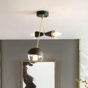Modern Ball and Hourglass Flush Light Clear Glass 3 Lights Corridor Semi Flush-Mount Lamp Fixture in Black