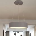 Round Metal Chandelier Light Simple LED Grey Hanging Ceiling Lamp for Living Room