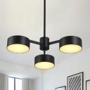 Iron Drum LED Hanging Chandelier Post Modern 3 Lights Black Finish Ceiling Pendant Lamp