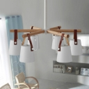 Metal Barrel Down Lighting Nordic Style 6-Head Chandelier Pendant Lamp in White with Leather Strap