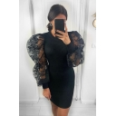 Gorgeous Ladies Puff Sleeves Round Neck See-Through Mesh Patched Mini Bodycon Dress in Black