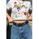 Cute Fancy Short Sleeve Crew Neck Cartoon Patterned Relaxed Crop T Shirt in White